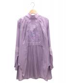 mame kurogouchi(マメ クロゴウチ)の古着「ボタニカルエンブロイダリーブラウス」|ピンク