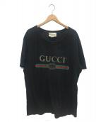 GUCCI(グッチ)の古着「ロゴウォッシュドオーバーサイズTシャツ」 ブラック