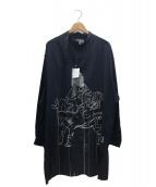 YohjiYamamoto pour homme(ヨウジヤマモトプールオム)の古着「変形スタンド牛刺繍Bシャツ」 ネイビー