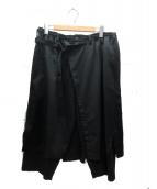 YohjiYamamoto pour homme(ヨウジヤマモトプールオム)の古着「ウール ギャバジンレギュラーラップパンツ」 ブラック
