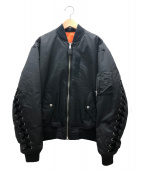 G.V.G.V(ジーヴイジーヴイ)の古着「レースアップMA-1ブルゾン」 ブラック