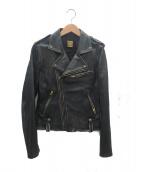 MUSE(ミューズ)の古着「ヴィンテージ加工レザーライダースジャケット」|ブラック