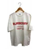 BURBERRY LONDON(バーバリーロンドン)の古着「ホースフェリープリントコットンTシャツ」|ホワイト×レッド