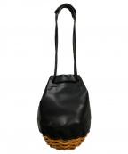 ebagos(エバゴス)の古着「オイルショルダーレザー底かご2WAY巾着バッグ」 ブラック
