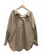 ENFOLD(エンフォルド)の古着「ワイドストライプシャツ」 ベージュ