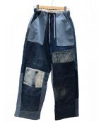 rebear by johnbull(リベアバイジョンブル)の古着「リメイクパッチワークイージーパンツ」|インディゴ