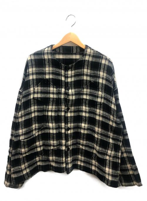 IROQUOIS(イロコイ)IROQUOIS (イロコイ) トリプルヤーンシャギーチェックシャツ ホワイト×ブラック サイズ:2の古着・服飾アイテム