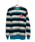 PALACE(パレス)の古着「リブフォープレジャークルー」 ブルー×グレー