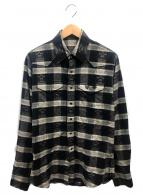 lucien pellat-finet(ルシアンペラフィネ)の古着「コットンカシミヤスカルチェックシャツ」|グレー