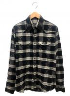 lucien pellat-finet(ルシアン・ペラフィネ)の古着「コットンカシミヤスカルチェックシャツ」|グレー