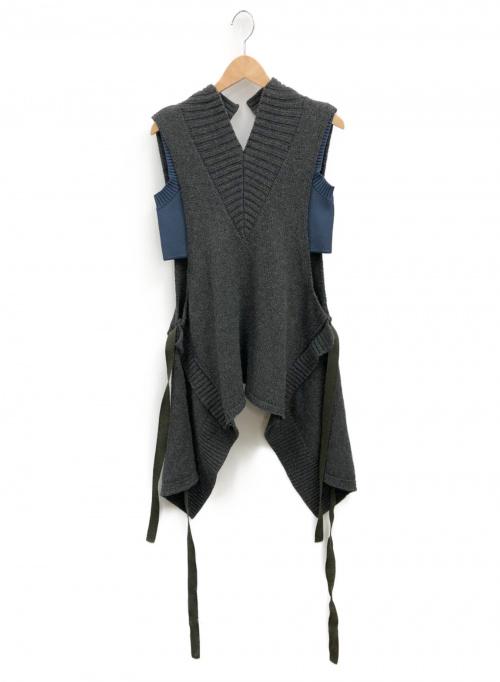 IRENE(アイレネ)IRENE (アイレネ) エディターズノートニットベスト グレー サイズ:S 完売モデル 21A81009 Analyzed Vest.の古着・服飾アイテム