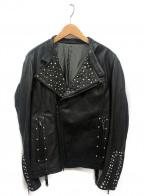SHELLAC(シェラック)の古着「装飾レザージャケット」 ブラック