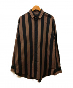 LOEFF(ロエフ)の古着「ストライプシャツ」 ブラウン