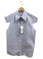 MM6 Maison Margiela(エムエムシックス メゾンマルジェラ)の古着「カットオフショルダーストライプシャツ」|ホワイト×ブルー