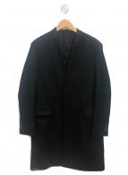 LAD MUSICIAN(ラッドミュージシャン)の古着「ミドルメルトンノーカラーチェスターコート」|ブラック