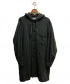 MARKA()の古着「フランネルウールッフードシャツコート」 グレー