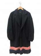 yoshio kubo(ヨシオクボ)の古着「ファー切替チェスターコート」|ブラック