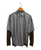 Mr.Gentleman(ミスタージェントルマン)の古着「レイヤードストライプシャツ」|スカイブルー
