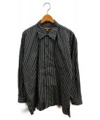 FILL THE BILL(フィルザビル)の古着「ストライプオープンカラーシャツ」 グレー×ホワイト
