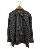 FILL THE BILL(フィルザビル)の古着「ストライプオープンカラーシャツ」|グレー×ホワイト