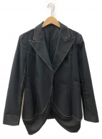 YOHJI YAMAMOTO(ヨウジヤマモト)の古着「ステッチデザインギャバジャケット」|ブラック