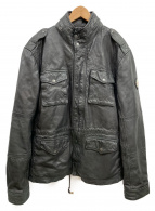 REPLAY(リプレイ)の古着「M-51フィールドラムjレザージャケット」 ブラック