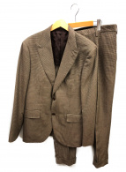 BEAUTY&YOUTH(ビューティーアンドユース)の古着「ハウンドトゥース2Bピークドラペルセットアップ」|ブラウン