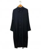 kei shirahata(ケイシラハタ)の古着「スリットスリーブシャツワンピース」 ブラック