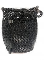 DRAGON(ドラゴン)の古着「レザーメッシュ巾着ショルダーバッグ」|ブラック