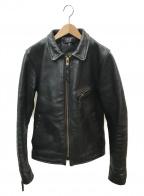 VANSON()の古着「シングルライダースジャケット」|ブラック