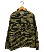 SASSAFRAS(ササフラス)の古着「タイガーカモストライプシャツジャケット」 カーキ