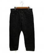 STABILIZER GNZ(スタビライザージーンズ)の古着「セルビッチワイドストレートパンツ」|ブラック