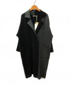 CASHYAGE(カシヤージュ)の古着「カシミヤ配色ダブルニットコート」 グレー