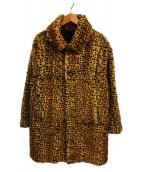 VINTAGE(ヴィンテージ/ビンテージ)の古着「レオパードラビットファーコート」|オレンジ