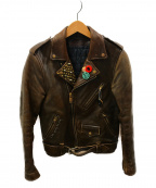 blackmeans(ブラックミーンズ)の古着「カスタムスタッズライダースジャケット」|ブラウン