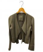 Rawtus(ロゥタス)の古着「ノーカラートッパーレザージャケット」 グレージュ