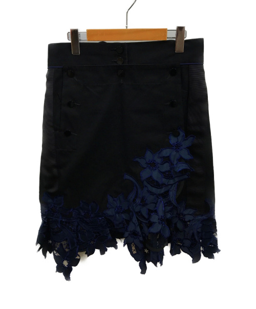 sacai(サカイ)sacai (サカイ) カットワークスエプロンレースアップカート ブラック×ネイビー サイズ:3 16-02682の古着・服飾アイテム