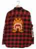 A BATHING APE (アベイシングエイプ) フランネルチェックシャツ レッド サイズ:M:5800円