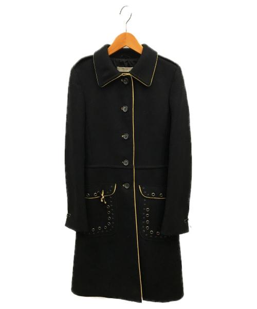 PRADA(プラダ)PRADA (プラダ) ウールパンチングステンカラーコート ブラック サイズ:38の古着・服飾アイテム