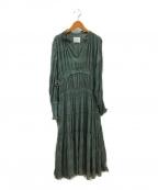 Ameri VINTAGE(アメリヴィンテージ)の古着「シャーリングプリーツドレスワンピース」 グリーン