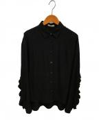 CLANE()の古着「ラメドットバックフリルシャツ」 ブラック