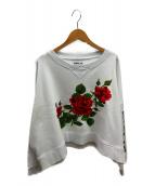 REPLAY(リプレイ)の古着「オーバーサイズ刺繍ローズ・スウェット」|ホワイト