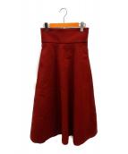 ()の古着「ワイドベルトボリュームスカート」|レッド