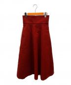 CLANE()の古着「ワイドベルトボリュームスカート」|レッド