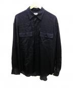 ALLEGE(アレッジ)の古着「レーヨンオープンカラーシャツ」 ブラック