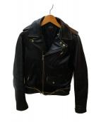 A.P.C.(アーペーセー)の古着「カウレザーダブルライダースジャケット」|ブラック
