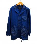 BY GLAD HAND(バイグラッドハンド)の古着「ヒッコリーストライプハンドコート」|ブルー