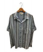()の古着「マルチストライプオープンカラーシャツ」 スカイブルー