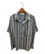 YOKE(ヨーク)の古着「マルチストライプオープンカラーシャツ」 スカイブルー