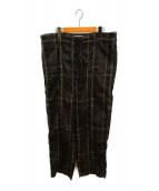 YOKE(ヨーク)の古着「ビッグプレイドワイドパジャマパンツ」|ブラウン